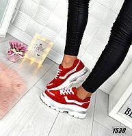 Кроссовки женские замшевые красные, фото 1