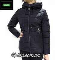 Женская куртка с капюшоном весна-осень темно-синий большие размеры