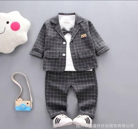 Нарядный костюм тройка на мальчика серый в клетку 3-4 года, фото 2