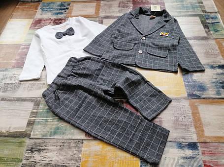 Нарядный костюм тройка на мальчика серый в клетку 2-4 года, фото 2