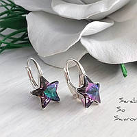 Чудные серебряные сережкис оригинальными камнями Сваровски в форме звезды