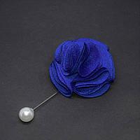 """Брошь булавка синий """"Цветок"""" из ткани d-55мм L-94мм"""