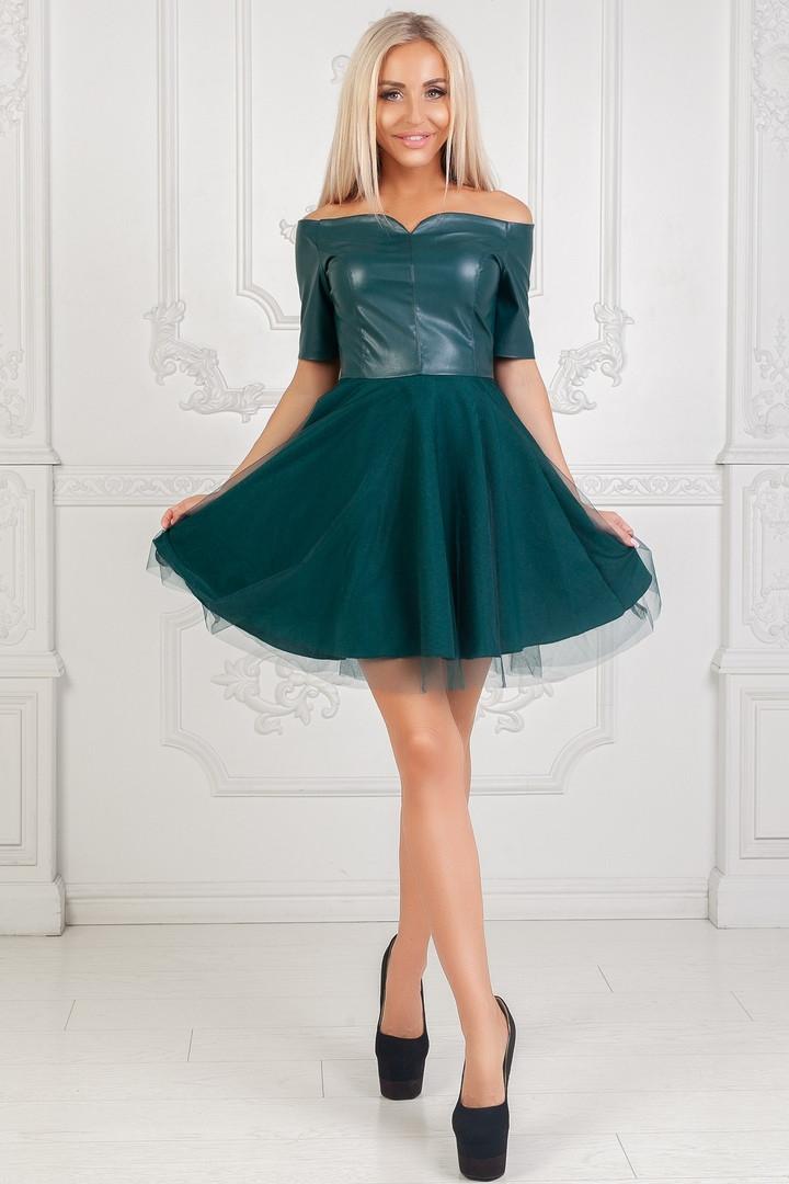 2f9e88bbc4d90cb Шикарное женское платье эко кожа + пышная юбка с сеткой изумрудное -  Стильная женская одежда оптом