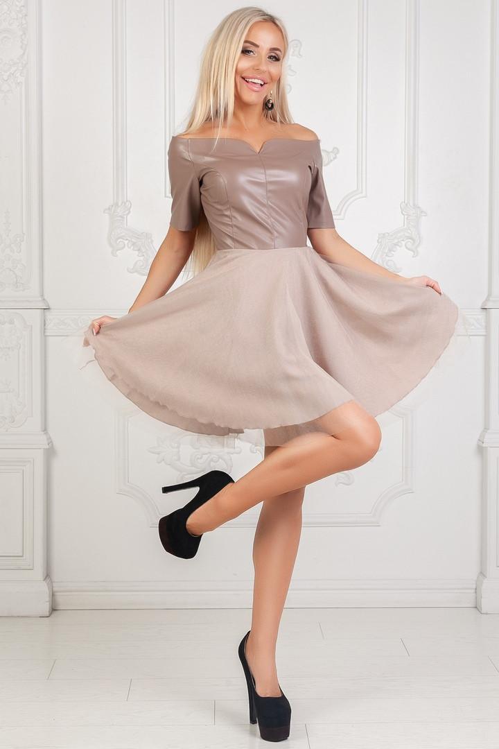 bb05fd1c83cf9d5 Шикарное женское платье эко кожа + пышная юбка с сеткой бежевое -