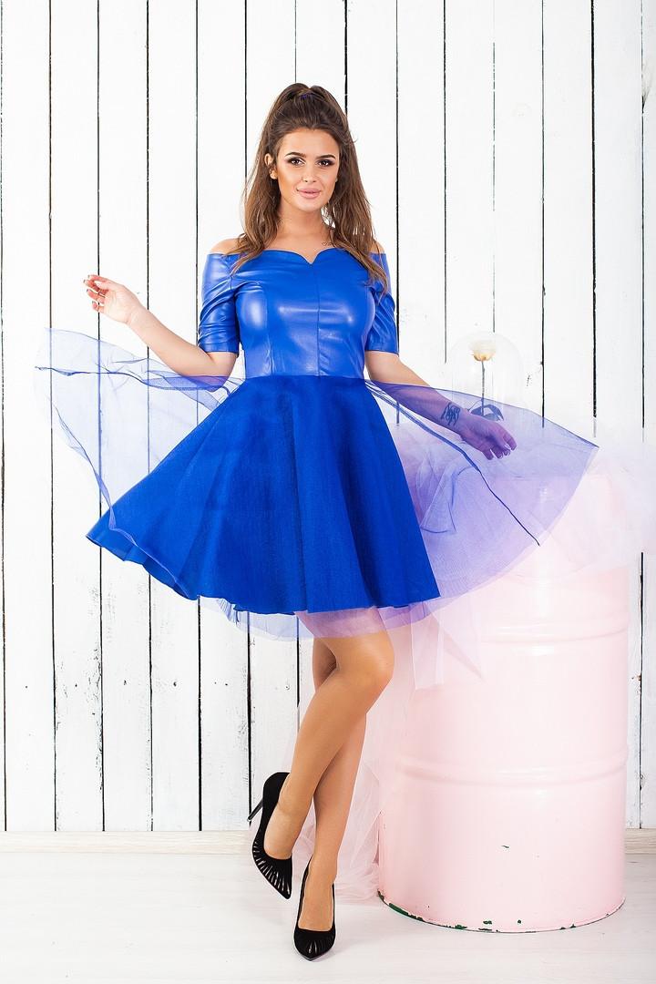 eae0cfb47c1557b Шикарное женское платье эко кожа + пышная юбка с сеткой электрик - Стильная  женская одежда оптом