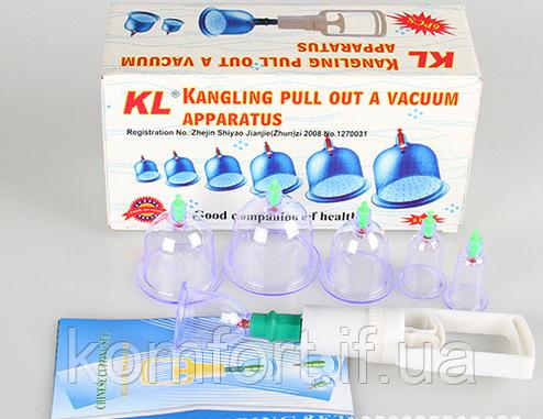 Банки массажные вакуумные для домашней терапии 6 шт. (w-22), фото 2