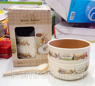 Набор детских тарелок с ложечками Bobby Rabbit 12,4х5,7см, фото 2