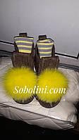 Валеши з помпоном з песця жовтого кольору, фото 1