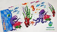 Детский коврик на присосках противоскользящий камни (подводный мир)