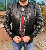 Кожаная куртка мужская в стиле Philipp Plein