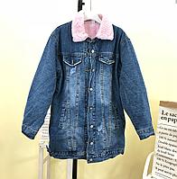 Женская теплая джинсовая куртка рванка с розовым мехом внутри 5b3e9ad34fc3d