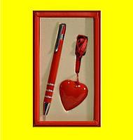Набор подарочный красный - ручка+флешка - сердце красное 11012