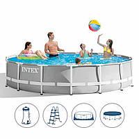 Каркасный круглый бассейн INTEX (26724) с фильтр-насосом, лестницей и тентом диаметр 457 см, высота 107 см