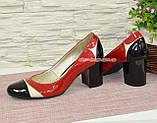 Женские кожаные туфли-лодочки на устойчивом каблуке, фото 2