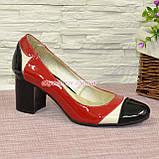 Женские кожаные туфли-лодочки на устойчивом каблуке, фото 3