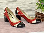 Женские кожаные туфли-лодочки на устойчивом каблуке, фото 4