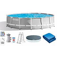 Каркасный круглый бассейн INTEX (26726) с фильтр-насосом, лестницей и тентом диаметр 457 см, высота 122 см