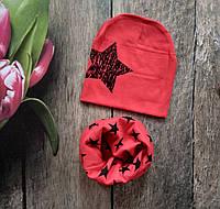 Весняний комплект шапка хомут для дівчинки
