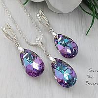 Восхитительный набор из серебра с оригинальными кристаллами Swarovski в цвете хамелеон