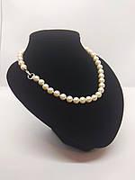 Перлового намисто з ідеально білого якісного перлів з застібкою у вигляді сердечка, 46см