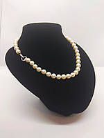 Жемчужного ожерелье из идеально белого качественного жемчуга с застежкой в виде сердечка, 46см