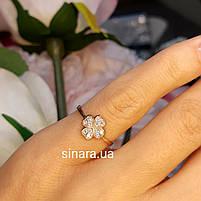 Золотое кольцо на мизинец  Счастливый Клевер, фото 7