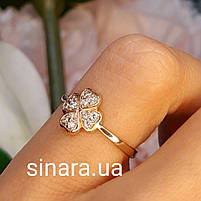 Золотое кольцо на мизинец  Счастливый Клевер, фото 6