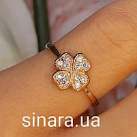 Золотое кольцо на мизинец  Счастливый Клевер, фото 4
