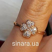 Золотое кольцо на мизинец  Счастливый Клевер, фото 3