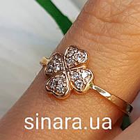 Золотое кольцо на мизинец  Счастливый Клевер, фото 5