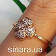 Золотое кольцо на мизинец  Счастливый Клевер, фото 2
