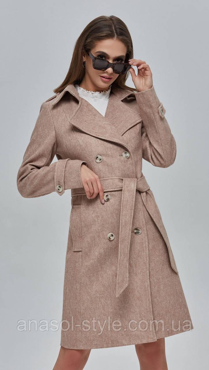 Пальто женское шерстяное двубортное бежевое