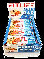 Упаковка батончиков FitLife Muesli Bar Peach & Oats 12 шт х 60 г
