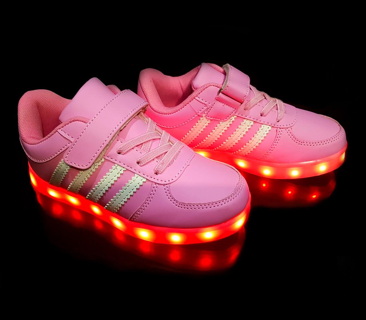 Кроссовки с LED подсветкой детские Pink W80
