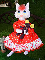 """Текстильная кукла ручной работы """" Кошка Барыня"""", 75 см."""