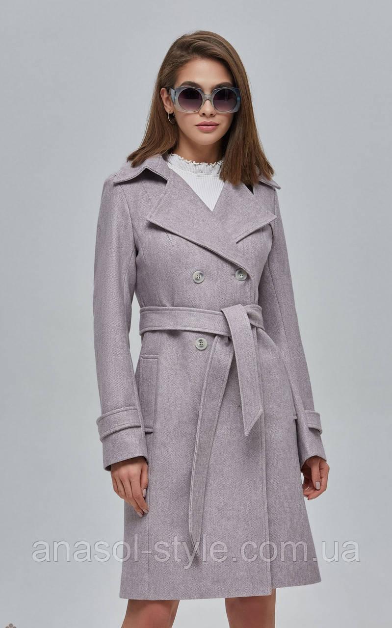 Пальто женское шерстяное двубортное капучино