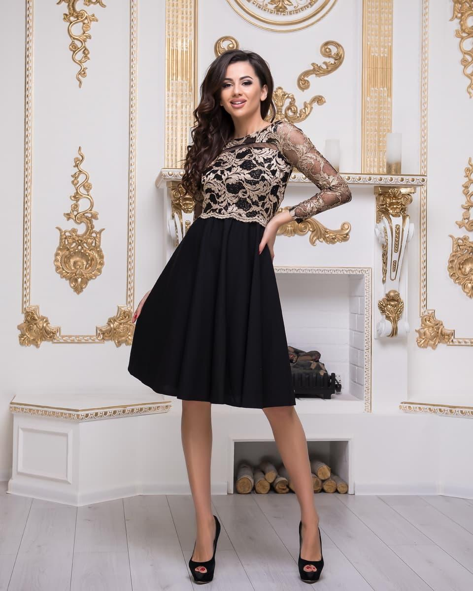 4d960c96ef6 Коктейльное черное вечернее платье с золотым кружевом