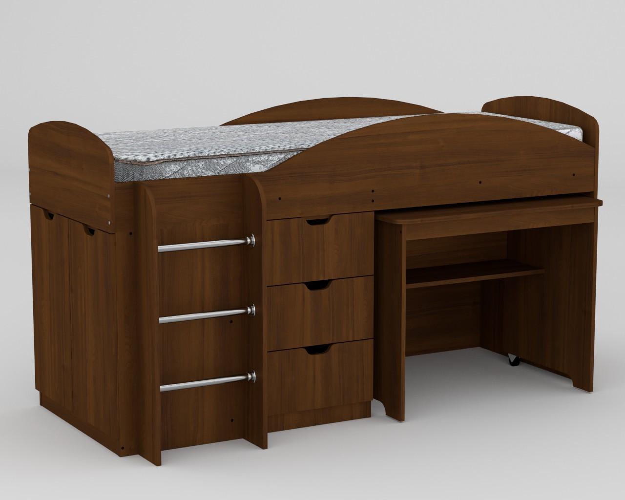Кровать Универсал орех экко Компанит (194х89х106 см)