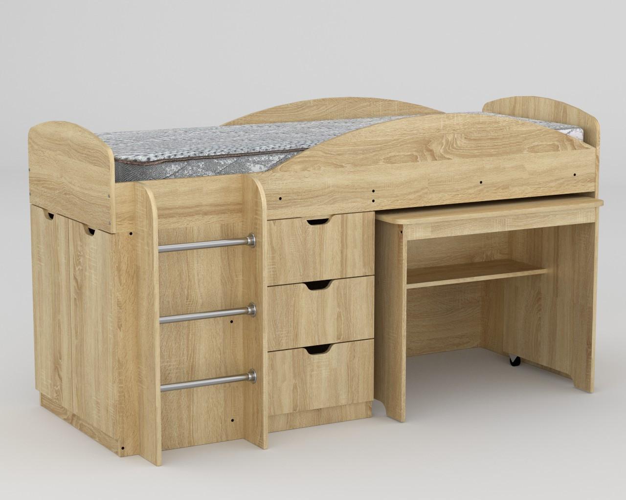 Кровать Универсал дуб сонома компанит (194х89х106 см)