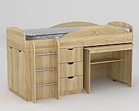 Кровать Универсал дуб сонома компанит (194х89х106 см), фото 1