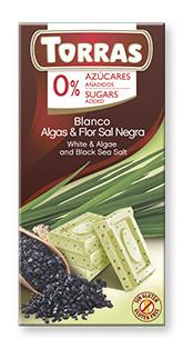 Белый  шоколад Torras c водорослями и черной солью  без сахара  , 75 гр