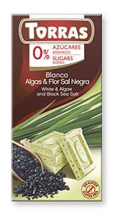 Белый  шоколад Torras c водорослями и черной солью  без сахара  , 75 гр, фото 2