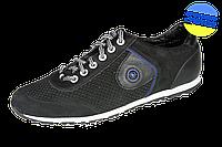 Мужские спортивные туфли на шнуровке перфорированные mida 13011нуб.ч черные   летние