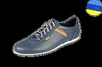 Мужские спортивные туфли на шнуровке перфорированные mida 13965син синие   летние , фото 1