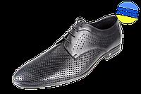 Мужские модельные туфли на шнуровке перфорированные mida 13947ч черные   летние