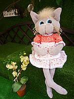 """Текстильная кукла ручной работы """" Кошечка Хозяюшка"""", 60 см."""