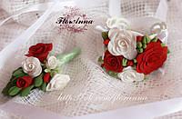 """Бутоньерка и браслет для невесты """"Бело-красные розы"""""""
