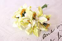 Декоративные бумажные цветочки 6 шт., диаметр 3-3.5 см см нежно-салатового цвета