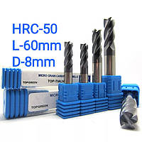 Фреза концевая  D-8mm/L-60mm/z-4/HRC-50 твердосплавная пальчиковая