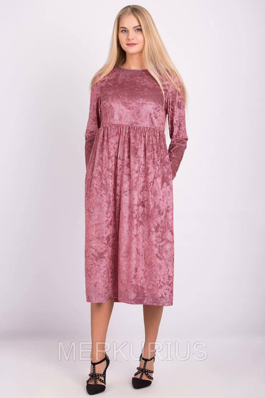 8429942a692 Красное Велюровое Платье CAROLINE в Мелкую Клетку — в Категории ...